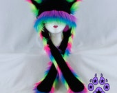 NEON RAINBOW Fur Kitty Cat rave bright Hat fleece winter anime strap warm cosplay SKI 1753