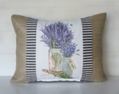 French Burlap Pillow Cover, French Lavender Mason Jar Decor, Ticking and SILVER Burlap Decorative Throw Pillow 12x16 Accent Cushion