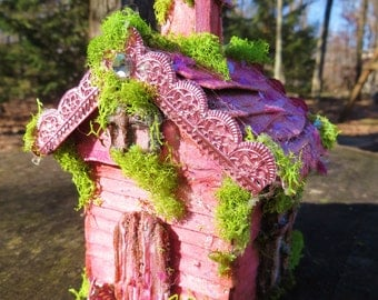 Little Pink Church Handmade music box fairy house