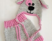 Crochet Hat and Pants Newborn Boy Girl Grey Pink Dog Photo Prop
