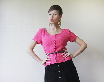 Magenta pink short sleeve sweetheart neck button up blouse