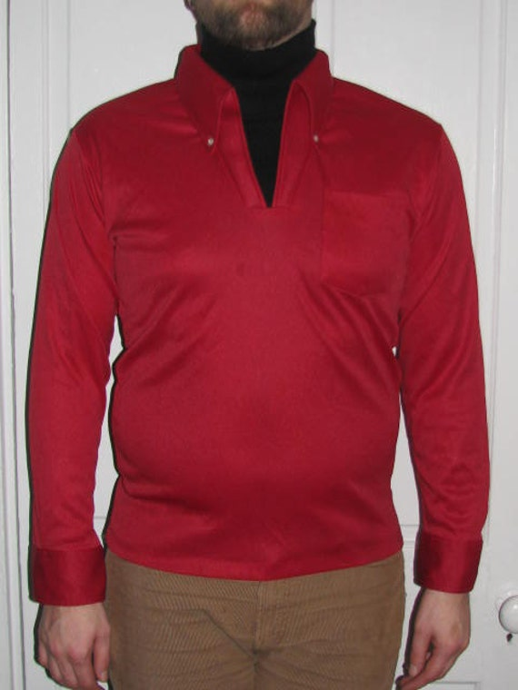 Built in turtleneck 70 39 s red long sleeve shirt for Haggar forever new shirts