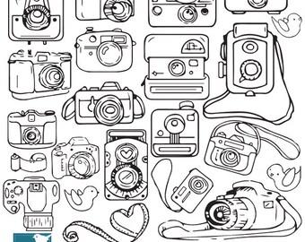 Hand Drawn Cameras Clip Art, Cameras Clipart, Line art Cameras, Photographer Logo, Vector EPS - INSTANT DOWNLOAD