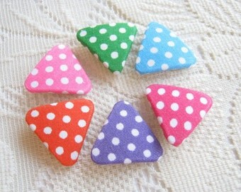Triangle Button Dot Colorful Fabric covered button Flat back Polka dot pink green blue violet blue Orange Set 6pcs woman  spring handmade