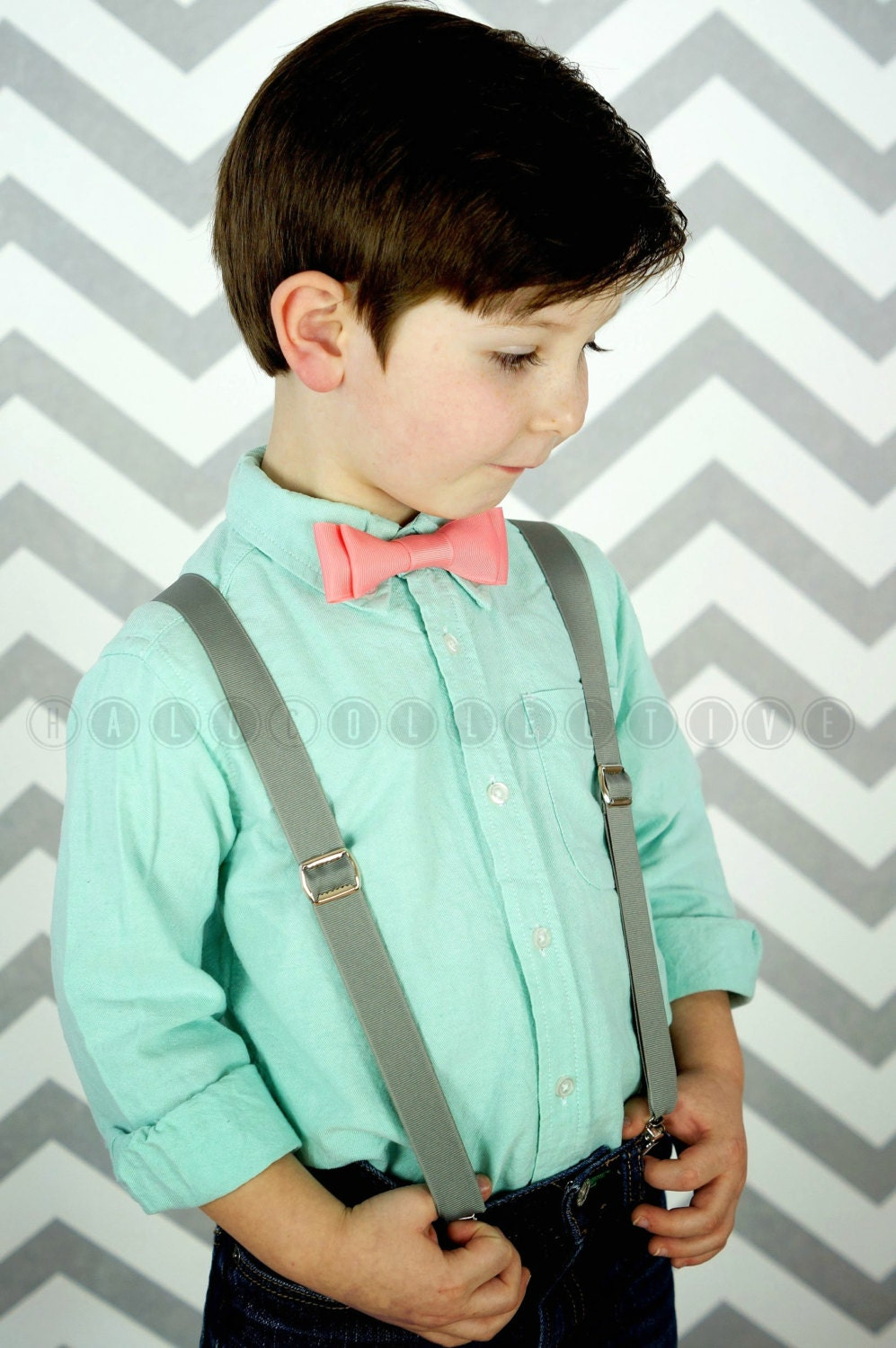 Boys suspenders and bow tie sets toddler by halocollective for Baby shirt and bow tie
