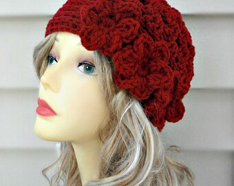 Womens Hats Crochet Hat Burgundy Beanie Crochet Beanie  Crochet Accessories Hair Accessories Crochet Womens Accessories Summer Hat Flower