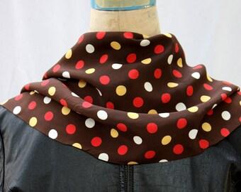 Brown Polka Dot Oblong Silk Scarf, vintage 1960s-1970s
