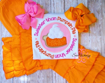 Sweeter than Pumpkin Pie shirt- Pumpkin Pie shirt- Thanksgiving shirt- Fall shirt- Girl's pumpkin shirt- Pumpkin shirt- Halloween shirt