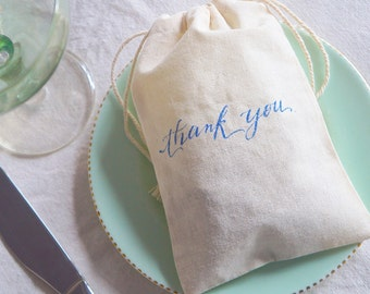10 x Thank you Calligraphy in Navy - 4 x 6 inches - wedding, engagement, party