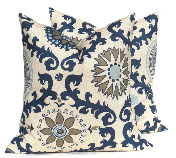 Decorative throw pillows blue pillow blue tan by eastandnest - Fabric for throw pillows ...