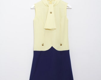 1960s Yellow and Navy MOD ASCOT DRESS
