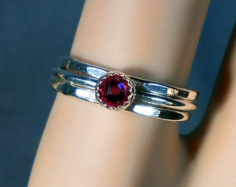 3 Ring Set, 1 Birthstone Stacking Ring Sterling Silver w/2 Stg Silver Stacking Rings, Swarovski Crystals,January Garnet Red