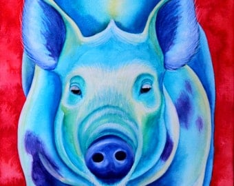Blue Pig Art Pig Artwork Farm Animal Art Animal Painting Original Painting Original Art Sow Painting Watercolor Painting Pig Painting
