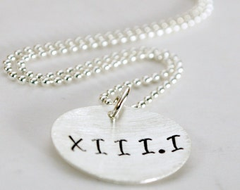 Roman Numeral Marathon Necklace  - Run Jewelry - Half Marathon Necklace - Maraton Roman Numerals Run Hand Stamped Sterling Silver Necklace