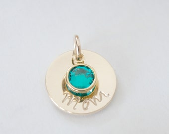 Mom Pendant with Birthstone Necklace Charm Gift for Women Hand Stamped Gold Filled