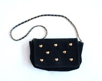 Vintage Valentines Black Suede Crossbody Purse with Gold Hearts