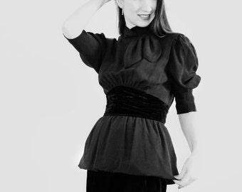 Velvet Dress / Escada Dress/Vintage High Fashion Dress/Haute Couture Rare Dress/Silk Dress/Prom Dress/Luxury/ 80's Designer Dress size S