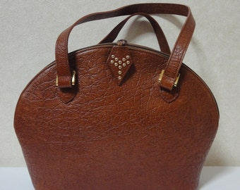 Vintage Yves Saint Laurent croc embossed brown leather tote bag in bolide purse shape. Perfect vintage bag from YSL back in the era.