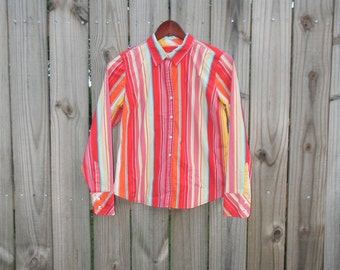 Women's Vintage 90s Prep Bright Striped Izod Preppy Hipster Small Medium S M Long Sleeve Button Up Blouse Shirt