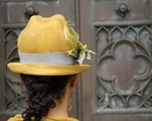 Mustard Yellow Straw Hat, Fedora, Hipster-Small Brim, Ladies' Straw Hat,Vintage Ribbon and Trim-Custom Only