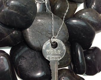 Handmade Solid Silver Yale Key Pendant and elongated Cable Chain