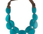 Tagua Statement Necklace / Tagua Jewelry / Tagua Necklace / Turquoise Necklace / Statement Necklace / Fair Trade / Tagua Nut Jewelry