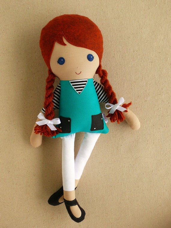 Fabric Doll Rag Doll Red Haired Girl With Braids In Green Blue