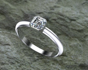 14K Gold Half .ct Asscher Diamond Engagment Ring Bezel Set