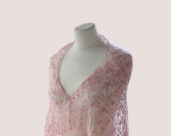 Hand knitted kidsilk lace shawl/ stole; Colour:Tea-rose