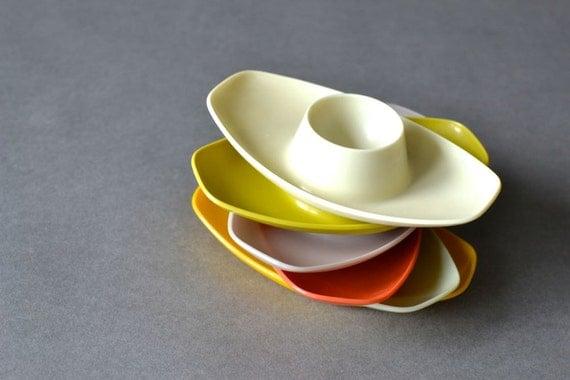 Vintage West German egg cups holders Mid-Century Modern houseware kitchenware pottery