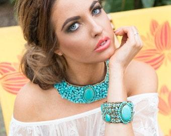 Turqouise Green Sea Gypsy Bracelet Cuff