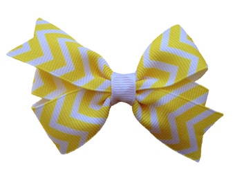 3 inch yellow chevron hair bow - yellow hair bow, chevron bow, girls hair bows, girls bows, yellow bows, toddler bows, baby bows