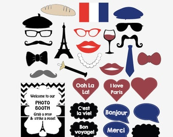 Paris photo booth props PRINTABLE Parisian French photobooth France birthday party