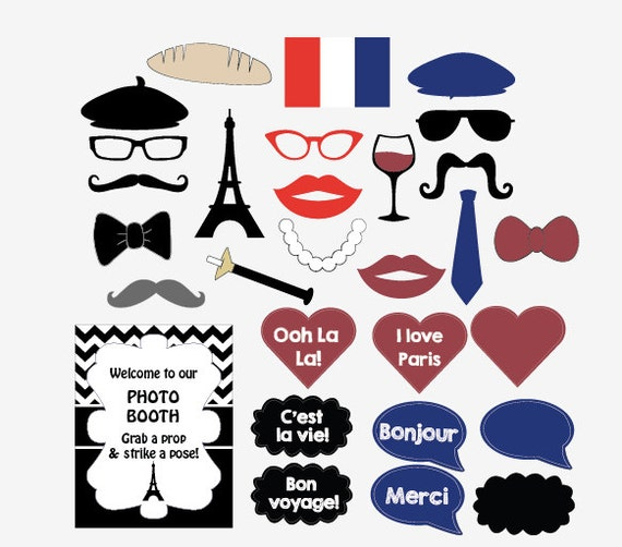 Préférence Paris photo booth props PRINTABLE Parisian French photobooth ZZ33