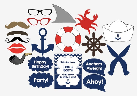 Nautical photo booth props printable diy sailor birthday party nautical photo booth props printable diy sailor birthday party photobooth pronofoot35fo Images