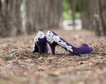 Wedding Shoes - Purple Shoes/Purple Heels/Bridal Shoes, Purple Heels with Ivory Lace. US Size 6