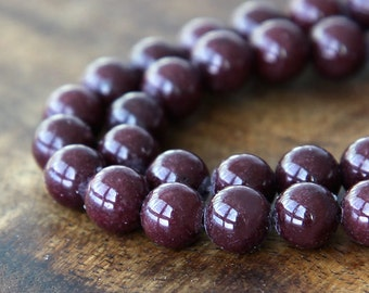Mountain Jade Beads, Chocolate Brown, 10mm Round - 15 Inch Strand - eMJR-N05-10