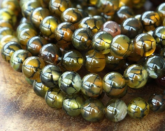 Dragon Veins Agate Beads, Olive Green, 8mm Smooth Round - 15 inch strand eGR-AG039-8