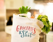 The Original Groceries & Shit Tote Bag Large, Sturdy, Heavyweight Canvas Grocery Bag by Emily McDowell