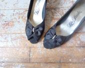 rhinestone bow peep toe heels/ black heels/ dress shoe// size 7
