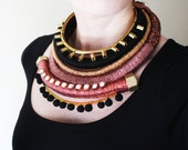 OOAK African Inspired Jewelry, Multistrand Wrapped Necklace, Rope Necklace, Mixed Media Necklace,  Black, Gold, Pink