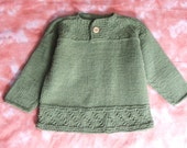 Hand Knitted Toddler Sweater - Green 100% Cotton Henley Pullover For Baby Boys Size 3T Childrens Clothes