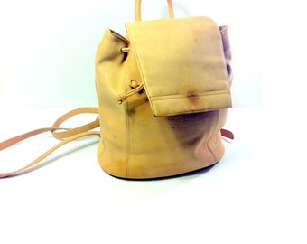 90s Mini Leather Backpack - Cinch Bucket Bag - Leather Rucksack - Knapsack
