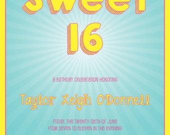 Fun Retro Sweet 16 Invitation