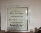 Decorative Windows with Sayings on Glass White Primitive Finish on Frame
