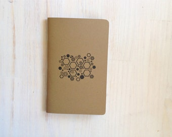 Notebook: Geometric, Hexagons, Inspiration Book, Brown, Kraft, Stamped, Kids, Journal, For Him, For Her, Jotter, Unique, Gift