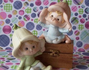 Vintage Homco Garden Pixie Elves with Tulip Hats Ceramic Figurines Set of 2 5615