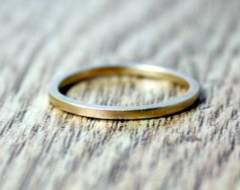 14ct Yellow Gold Stacking Ring, Skinny Ring, Recycled Gold, Alternative Engagement and Wedding Band Set, Eco, Ethical