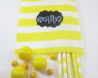 24- 5X7 Yellow and White Horizontal Striped Bags, Treat Bags, Favors, Candy Buffet, Wedding