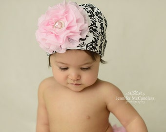 Black Damask Infant Baby Girl Beanie Hat with Chiffon Flower and Pearl